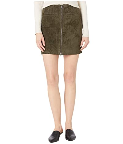 Blank NYC Real Suede Skirt with Zipper Detail in Olive Green (Olive Green) Women