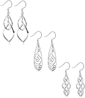 LOYALLOOK 3Pairs 925 Sterling Silver Filigree Teardrop Double Twist Wave Long Tassels Drop Dangle Earrings for Women Girls