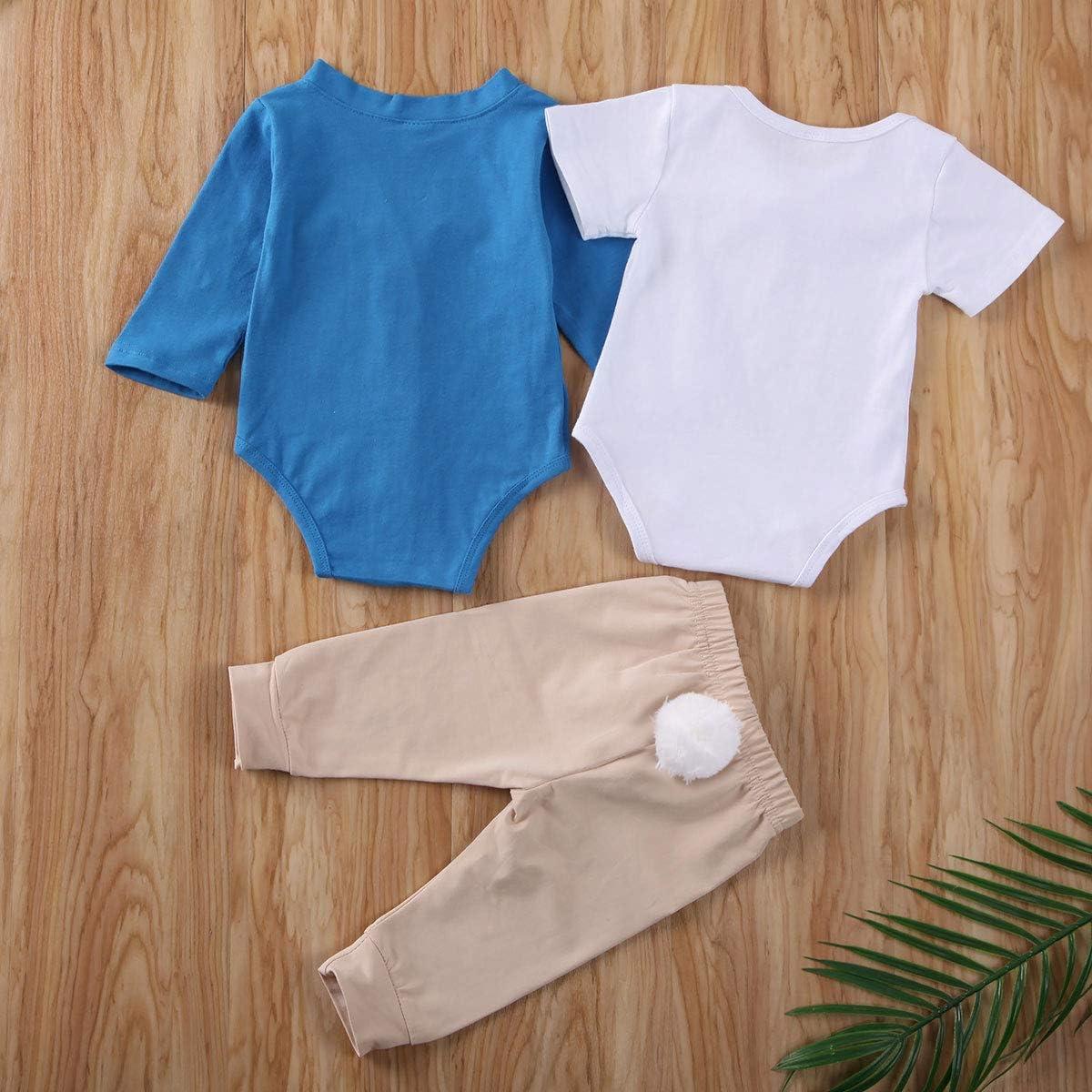 Geagodelia New Born Infant Baby boy Easter Clothes 3Pcs Outfits Long Sleeve Rabbit Romper Short Sleeve Bodysuit Trouser