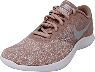 NIKE Women's Flex Contact Running Shoe, White/Metallic Silver-Particle Pink, 6