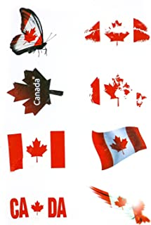 Flag Stickers,American/Canada/France/Germany/UK/Spain/Australia Flag Stickers with High Environmental Protection Materials for Personalize Laptops,Cars,Bikes,Bicycles (Tattoo Sticker, Canadian)