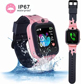 ZOPPRI Smartwatch for Kid, IP67 Waterproof 1.44 inchTouch Screen Watches. GPS Tracker with SOS and Pedometer with Camera Phone Watch. Smartwatch for 3-14 Year Old Children Girls Boys (Pink)