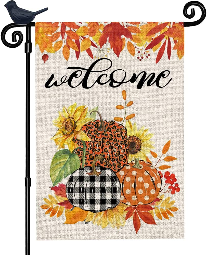 UFunlifeel Welcome Fall Garden Flag with Pumpkin 12 x 18 Inch Vertical Double Sided, Buffalo Check Plaid Fall Small Garden Flag, Fall Yard Outdoor Decoration