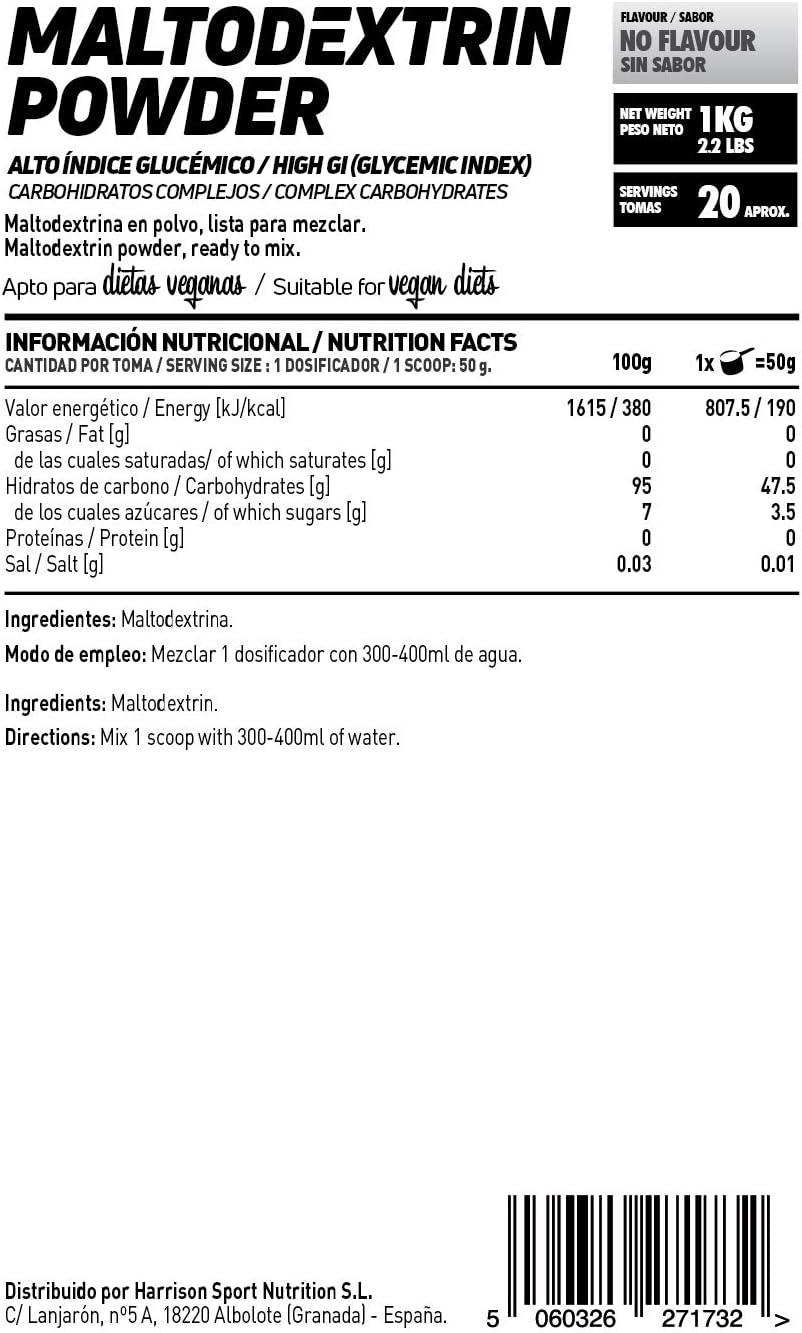 Maltodextrina de HSN | Carbohidrato de Alto Índice Glucémico, Ideal para la Carga de Carbohidratos, Combinar con Batidos de Proteína Post-Entreno, ...