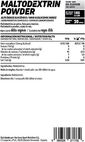 Maltodextrina de HSN   Carbohidrato de Alto Índice Glucémico, Ideal para la Carga de Carbohidratos, Combinar con Batidos de Proteína Post-Entreno, ...