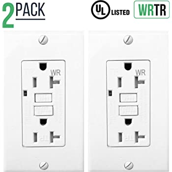 20 Amp Gfci Outlet Receptacle With Led Indicator 2 Wires 3 Poles Tamper Resistant Tr Weather Resistant Wr Nylon Wall Plate Screws Included 120 125v Self Test Ul2008 2 Pack White Amazon Com