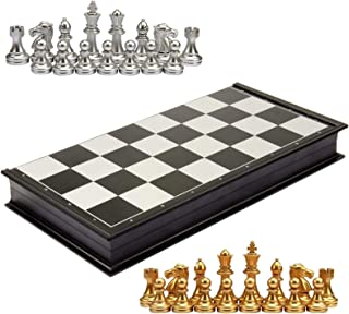 Portable Travel Board Games Chess Set, Checkerboard Puzzle Board Game Toy Chess (Goldene und silberne Schachfiguren)