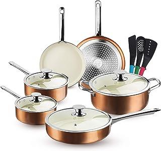FRUITEAM 13-Piece Cookware Set Non-stick Ceramic Coating Cooking Set, Induction Pots Pans Set with Lids, Heavy Duty Stainl...