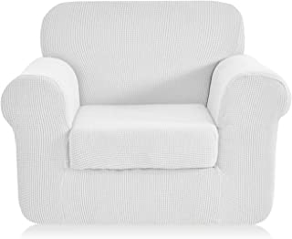 CHUN YI Jacquard Armchair Covers 2-Piece Stretch Polyester Spandex Fabric Chair Slipcover,1 Seater Cushion Sofa Furniture Protector for Couch (Chair, White)