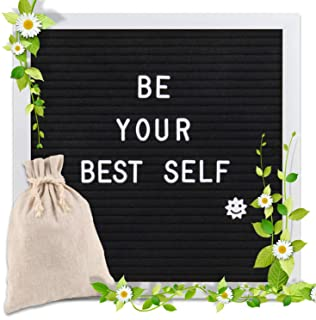 Changeable Letter Board 10x10 inches, Message Sign Board with Canvas Bag, Adjustable Stand,Wall Mount and 340 Letters, Num...