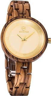 Reloj de Madera para Mujer,MUJUZE Hecho a Mano Mujeres Relojes de Madera para Señoras con Banda Ajustable, Esfera de Reloj...