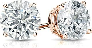 14k Gold Round Lab Grown Diamond Stud Earrings (1/4 to 1 1/4cttw, E-F, SI1-SI2) 4-Prong Basket, Screw-backs by Diamond Wish