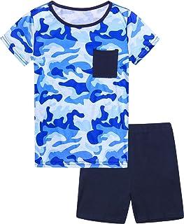 Hawiton Pijama de 100% algodón de Manga Largos para niños,Pijama de 6-16 años,Camiseta Pura y Pantalones de celosía con co...