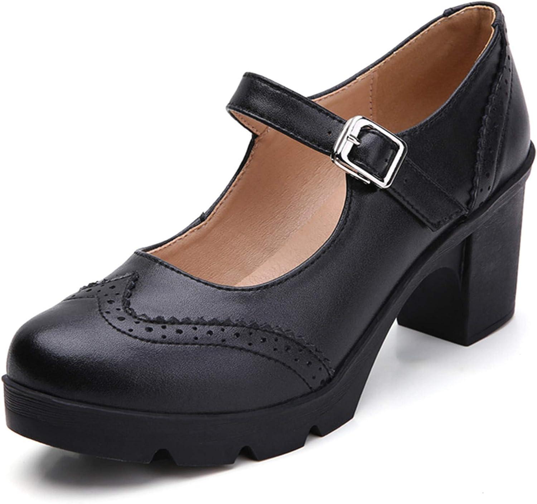 70s Shoes, Platforms, Boots, Heels | 1970s Shoes DADAWEN Womens Leather Classic Platform Mid Heel Mary Jane Square Toe Oxfords Dress Shoes  AT vintagedancer.com