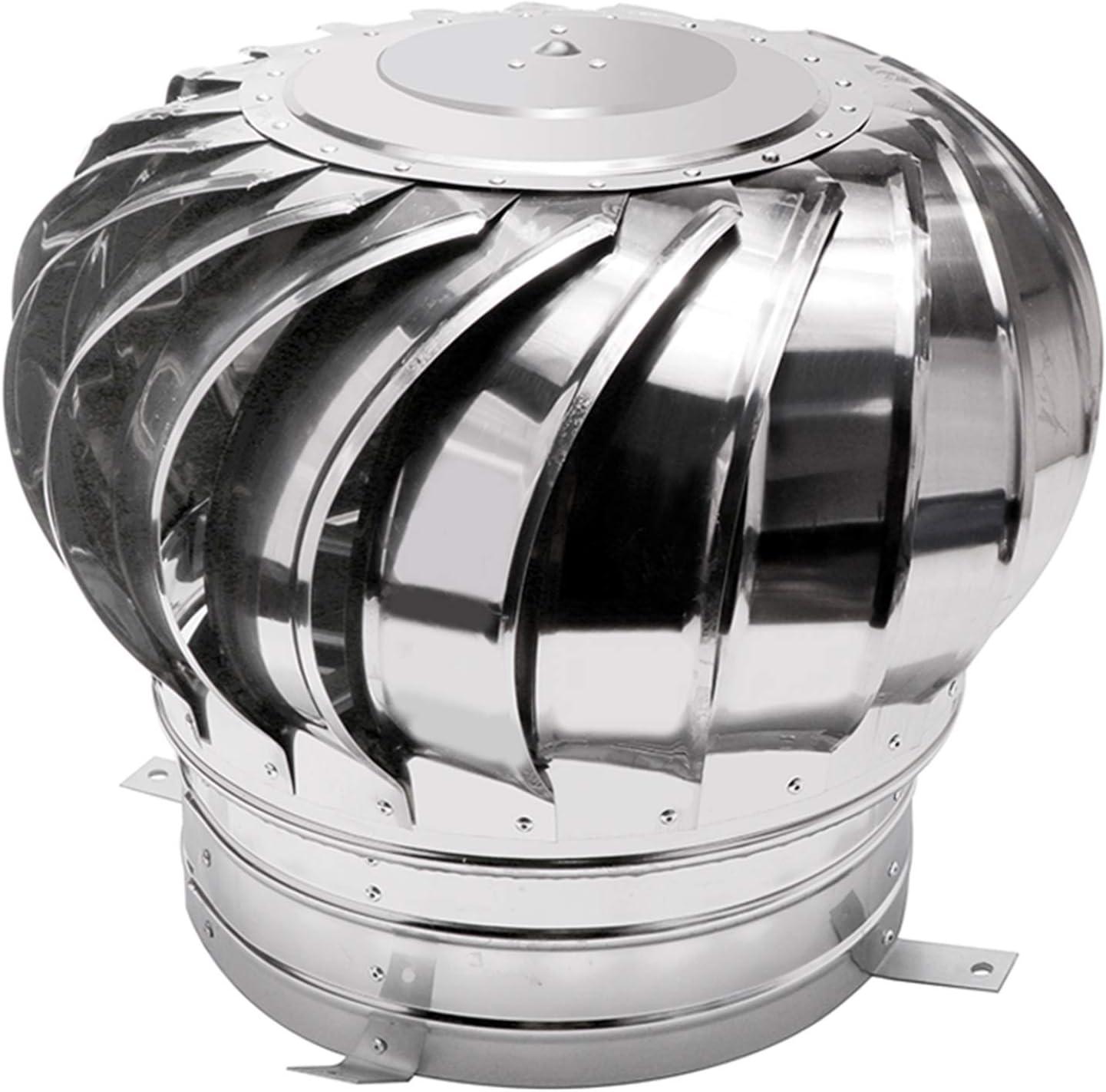 LTLJX Giratorio Extractor de Humo Pivotantes, Aspirador Sombrero eolico para chimeneas Estufa de Acero Inoxidable, Base Redonda, Todas Las Dimensiones,300mm