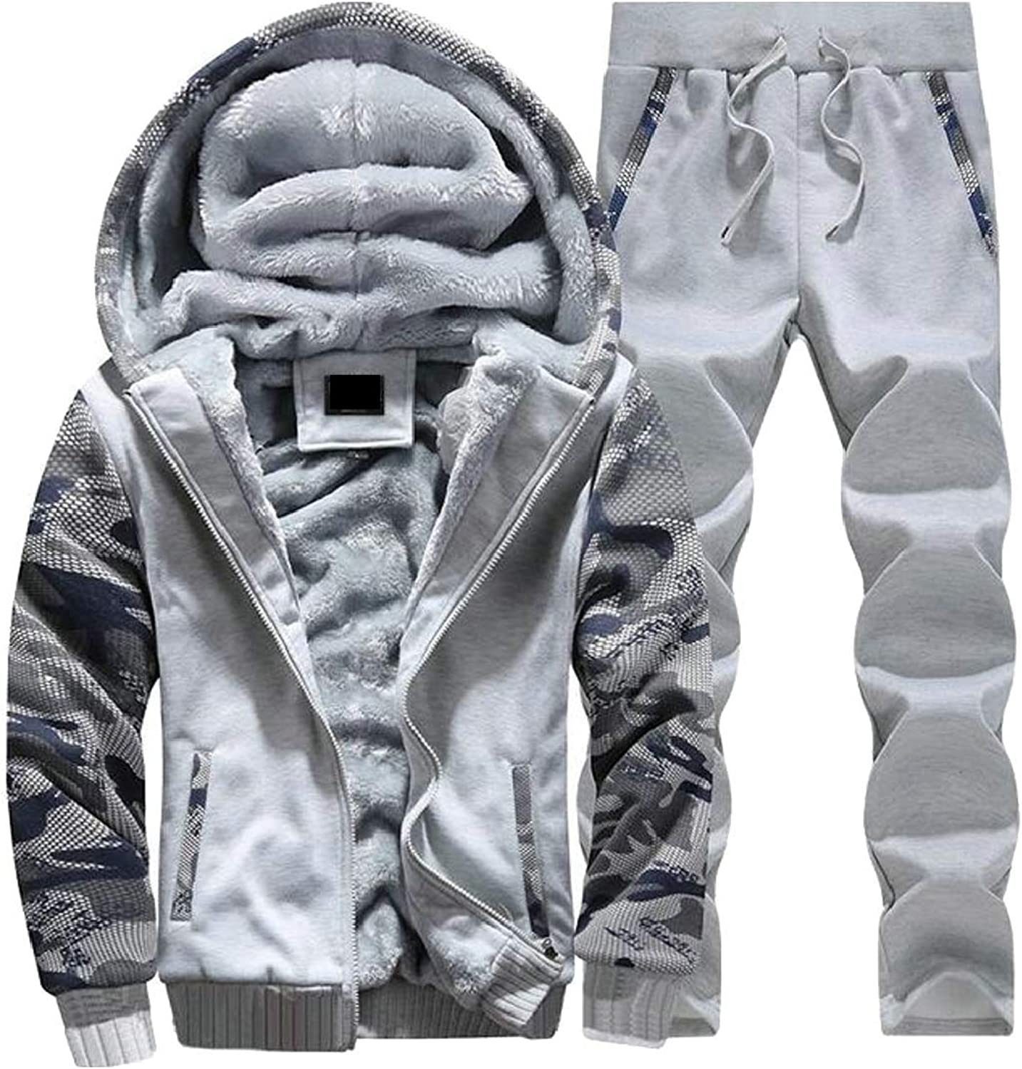 XQS Men Winter 2 Piece Outfits Fleece Lined Hoodie Pants Running Tracksuits