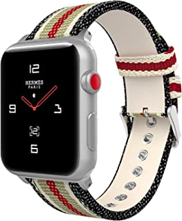 MoKo Compatible Band Replacement for Apple Watch 42mm 44mm Series 5/4/3/2/1, Soft Canvas Fabric Replacement Sports Strap + Watch Lugs - Black & White & Brown & Red (Not fit 38mm 40mm Versions)