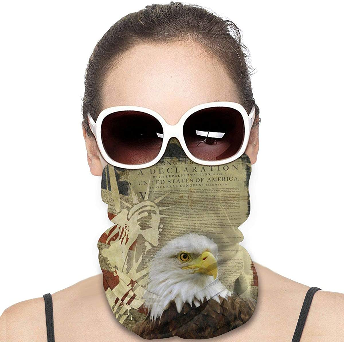 Headwear Face Mask American Flag Statue of Liberty Bald Eagle Sports Headband Bandana Head Wrap Neck Gaiter Scarf