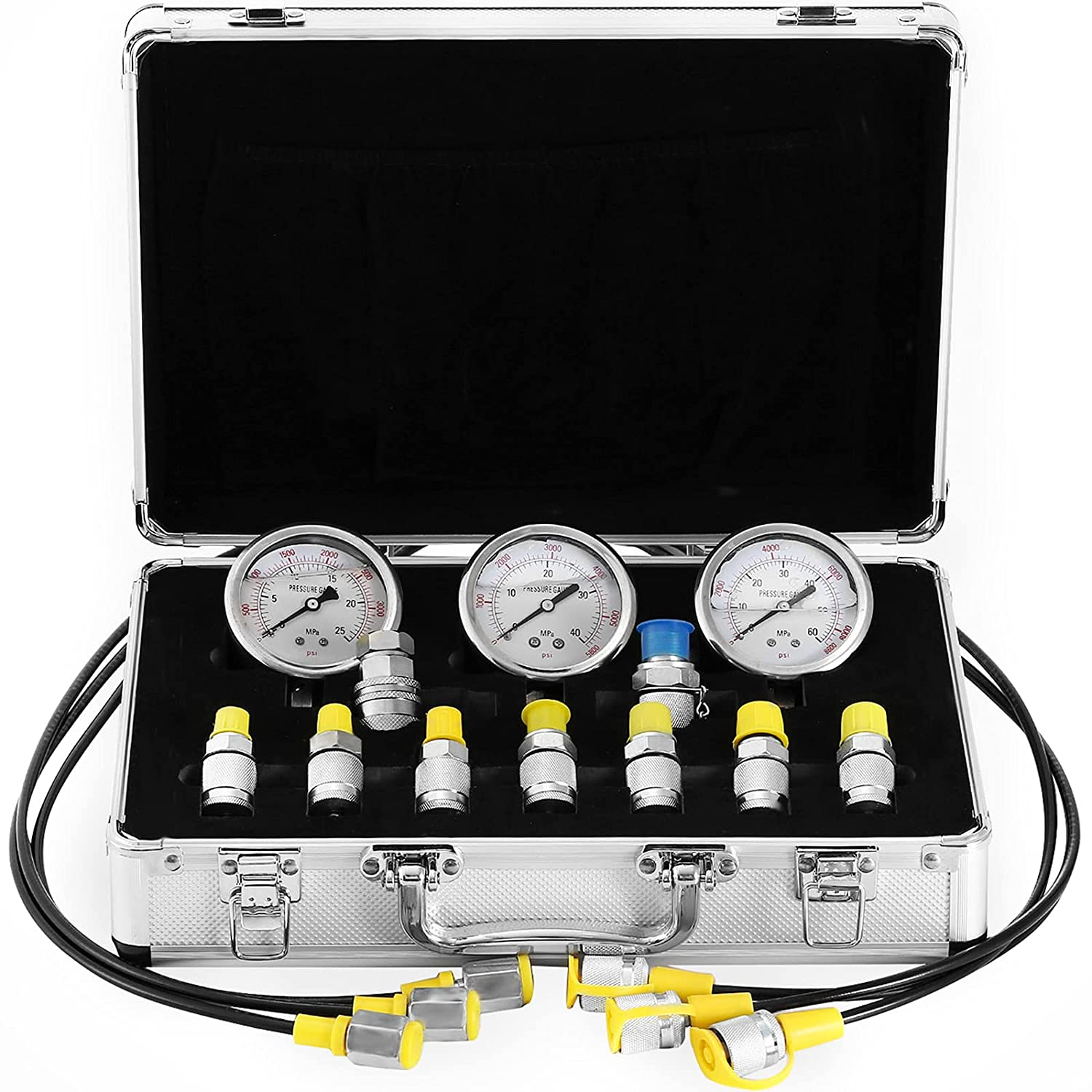 VEVOR Hydraulic Our shop OFFers the best service Ranking TOP3 Pressure Gauge Kit 25 60Mpa Excava 9Couplings 40