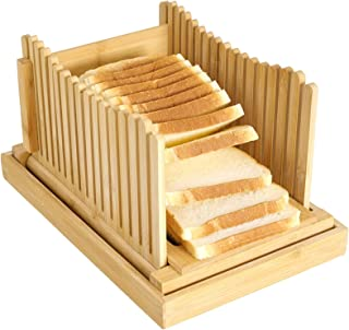 Bambou Bois Trancheuse À Pain Machine À Pain D'épaisseur Réglable pour Sandwich de Bagels de Gâteaux de Pain, À Trancher L...