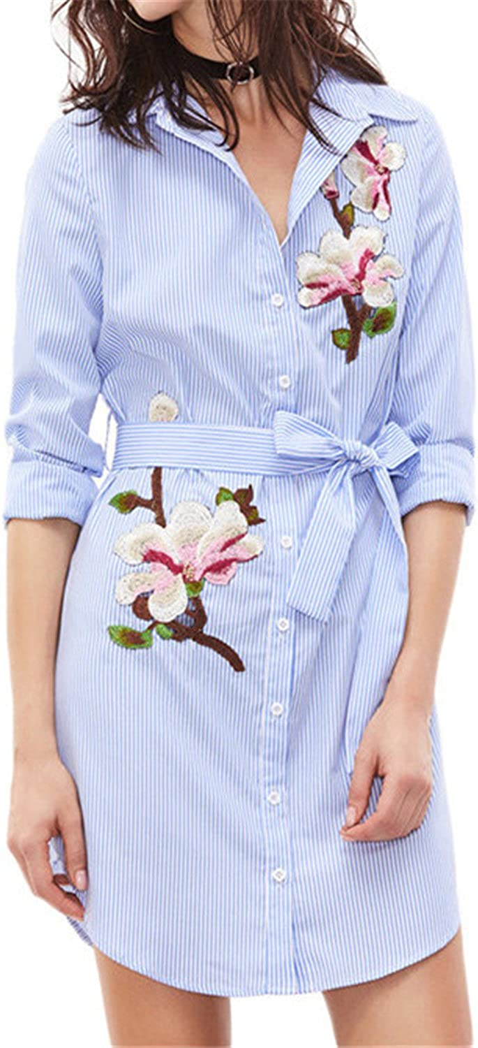 Soto6ro Women Embroidery Dress blueee and White Striped Lapel Long Sleeve Shirt Dress