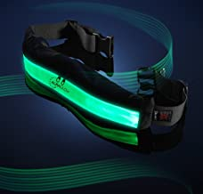 Auraglow Super Bright High Visibility Light-Up LED Reflective Rechargeable USB Running Cycling Safety Belt with Pockets - Green