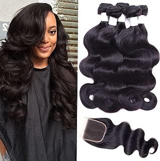 Flady 10A Brazilian Body Wave Human Hair 3 Bundles with Closure Unprocessed Virgin Brazilian Hair Bundles with Closure16 18 20+14inch