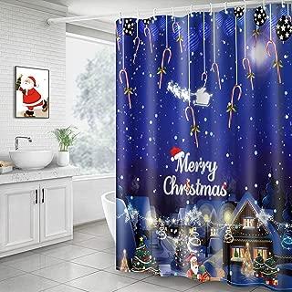 papasgix Christmas Shower Curtain, Christmas Night View Bathroom Curtains Waterproof Polyester Bath Decor Winter Holidays Bath Curtain Sets with 12 Shower Curtain Hooks, 71x71 inch