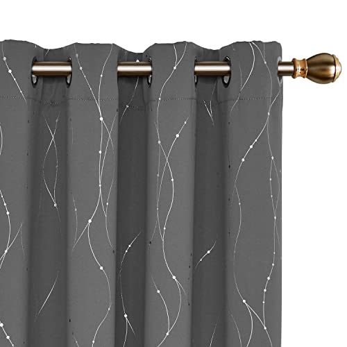 Deconovo Grommet Top Blackout Curtains Thermal Insulated Curtains Window Curtains with Wave Line and Dots Pattern for Bedroom and Dining Room 52 x 72 Inch Grey Set of 2