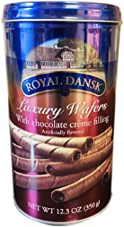 Royal Dansk Luxury Wafers 12.3 Ounce! Rolled Wafers With Chocolate Cream Filling! Wafers Creme Chocolate Filled! Choose From Chocolate, Vanilla Or Cappuccino! (Chocolate)