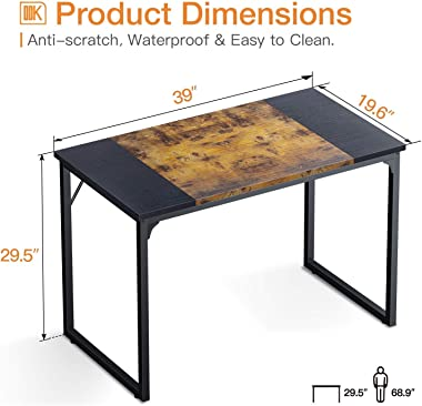 """ODK Computer Desk 39"""" with Splice Board, Study Writing Table for Home Office, Modern Simple Style PC Gaming Desk, Black a"""
