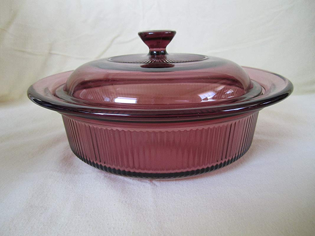 Corning Ware Visions Visionware Glass Cranberry Covered Casserole Baking Dish 1 QT