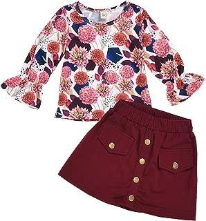 Kids Toddler Baby Little Girls Fall Dersses Outfit Ruffle Long Sleeve Floral Shirt Top+Skirt Dress Winter Clothes Set