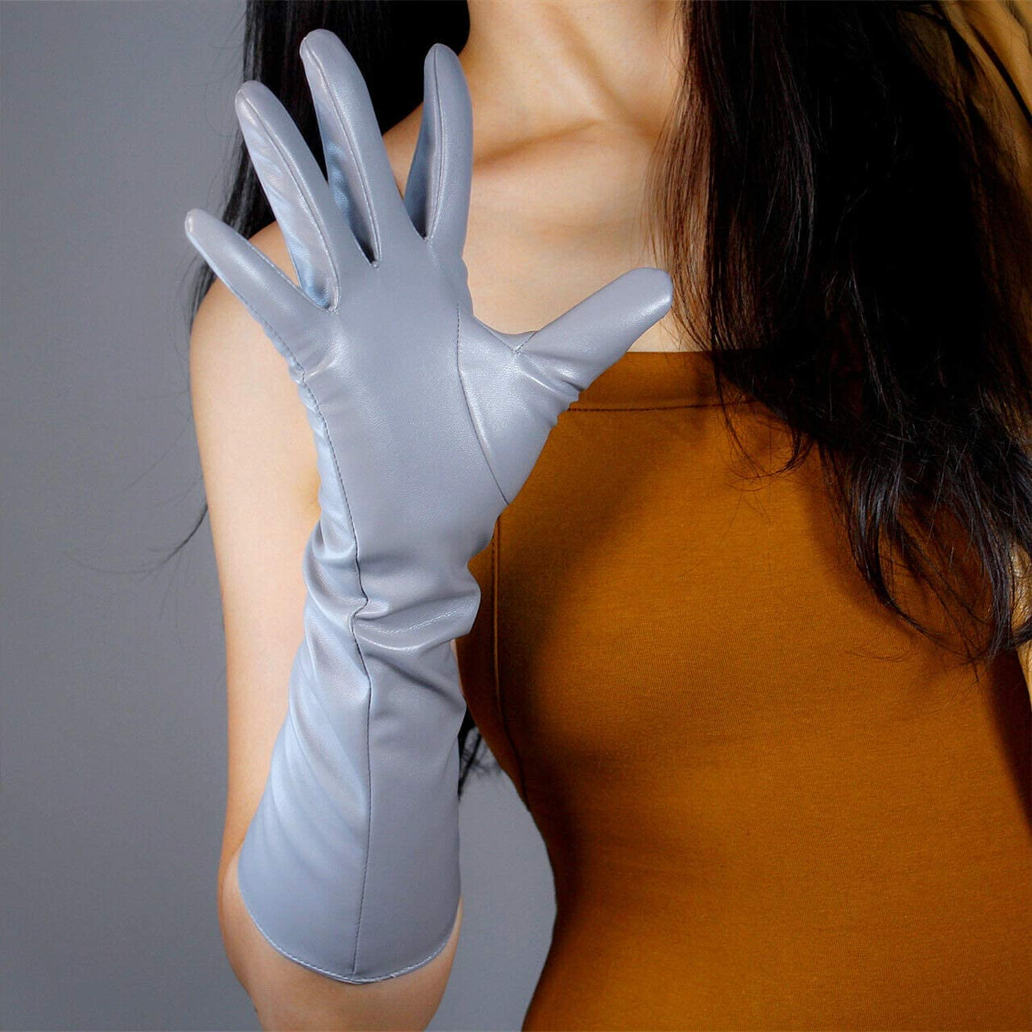 DooWay Women Long Faux Leather Gloves 16-inch Elbow Length Evening Cosplay Dress Driving Finger Gloves