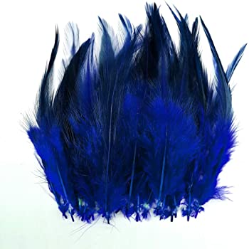 100pcs Saddle Feathers Hackle Rooster Feathers Dyed Neck Feathers for Craft DIY Pendant Earrings Jewelry Costume Dream Catcher 5-6 Inch (Royal Blue)