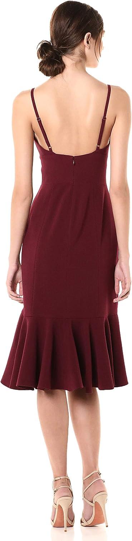 Dress the Population Women's Marilyn Sleeveless Stretch Midi Dress with Slit, Burgundy, X-Large