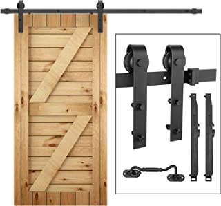 "Barn Door Hardware Kit,eletecpro 6.6FT Single Rail Heavy Duty Sliding Roller Barn Door Track Kit Soft Close Super Smoothly and Quietly, Fit 36""-40"" Wide DoorPanel(6.6ft Kit[Single Door])"