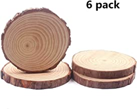 Natural Wood Slices, Round Pinewood Slabs, 6 to 7 inch, Rustic Tree Bark Slice, Weathered Log Disc, Outdoor Country Barn Wedding Table Centerpiece, (Pack of 6)