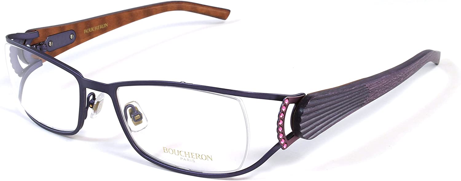 Boucheron Unisex Curved Rectangular Eyeglasses Purple