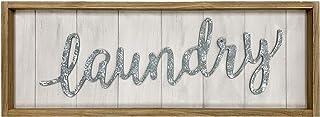 Grande plaque murale rétro en bois avec inscription « Laundry Word », encadrée en bois brun, décoration murale rustique de...