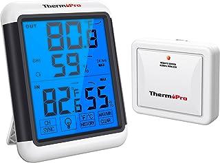 ThermoPro TP65 Hygromètre Numérique sans Fil Thermomètre Intérieur Extérieur Moniteur de Température et D'humidité avec Éc...