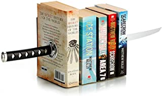 ZWCIBN Book Ends Decorative, Modern Metal Funny Unique Black DVD Bookends for Shelves, Katana Book Stopper Holder for Offi...