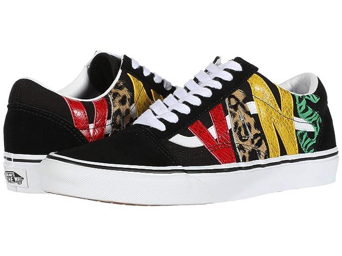 Mens Retro Shoes | Vintage Shoes & Boots Vans Old Skooltm Multi Animal RastaBlack Skate Shoes $64.95 AT vintagedancer.com