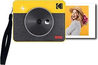 Kodak Mini Shot 3 Retro Tragbare Kabellose Sofortbildkamera und Fotodrucker, iOS & Android, Bluetooth, 76 x 76 mm, 4Pass Technologie, 8 Blatt   Gelb