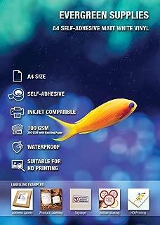 Vinilos adhesivos imprimibles en formato A4, resistentes al agua y adecuados para impresoras láser (5 láminas)