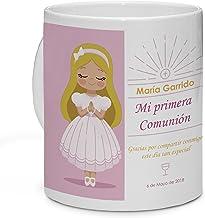 LolaPix Taza Personalizada Comunión Muñeca Rubia. Personalizada con tu Nombre, Original y Exclusivo, para Comuniones. Diferentes diseños a Elegir.