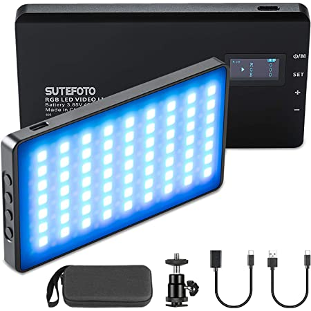 RGB LED Video Lights,On-Camera Lighting Mini Pocket Light for Vlog YouTube Videos with(RGB,2500K-8500K,0-1530°,4000mah,OLED Display,Aluminum Body,Bag)