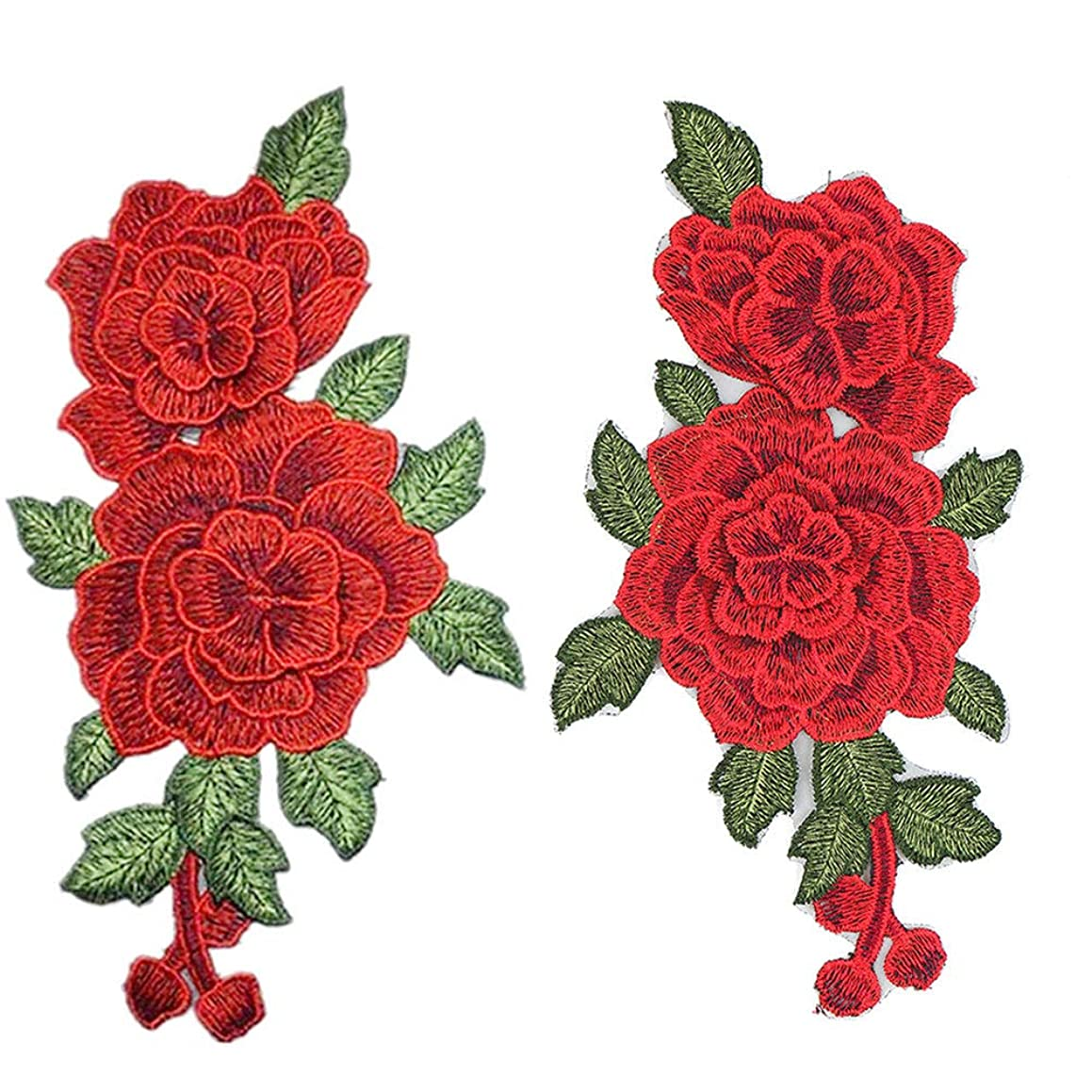 Red Rose Cloth Paste Embroidered Sewing On Patch Ornaments Flower Iron On Stickers for Clothes Badges Sewing Fabric Applique Accessory 2 Pcs