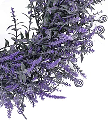 HUAESIN Artificial Lavender Boxwood Wreath 17 inch Front Door Wall Wreath Spring Summer for Outdoor Indoor Wall Window Party Home Decor