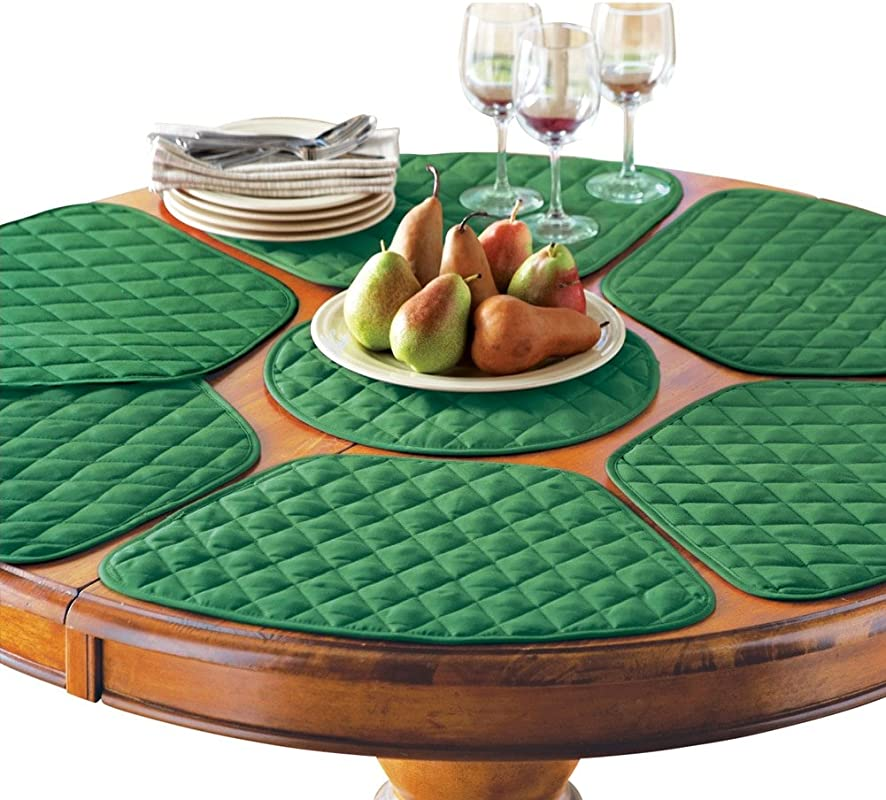 Kitchen Table Placemat And Centerpiece Set 7 Pc Holiday Green Machine Washable